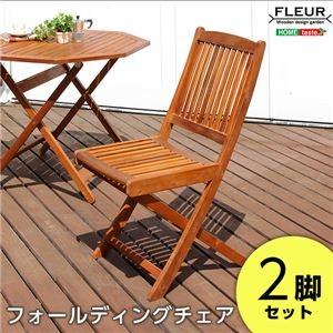 アカシア フォールディングチェア/折りたたみ椅子 2脚セット 【幅約42.5cm】 木製 オイルステイン【代引不可】