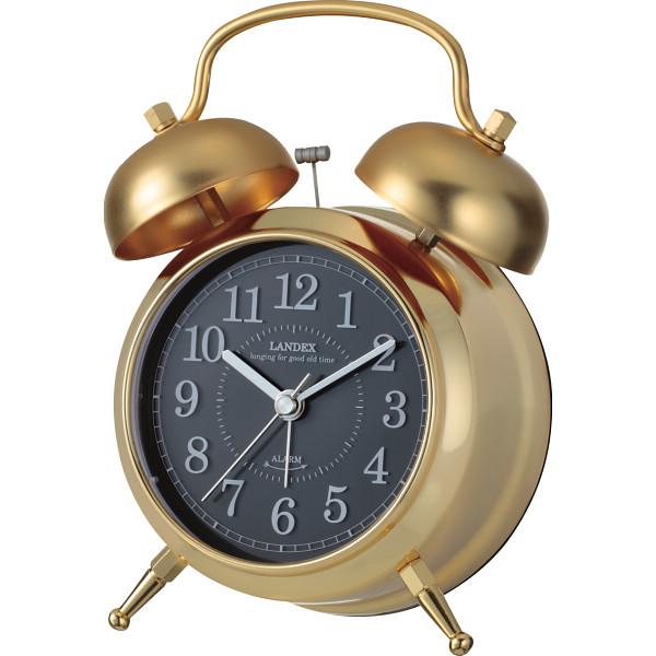 4981480522915 レトロ調ツインベル目覚まし時計 ゴールド