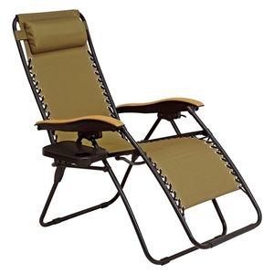屋外対応 リラックスチェア/折りたたみ椅子 【カーキ 枕付】 約幅80cm リクライニング式 肘付き サイドテーブル付 通気性抜群【代引不可】